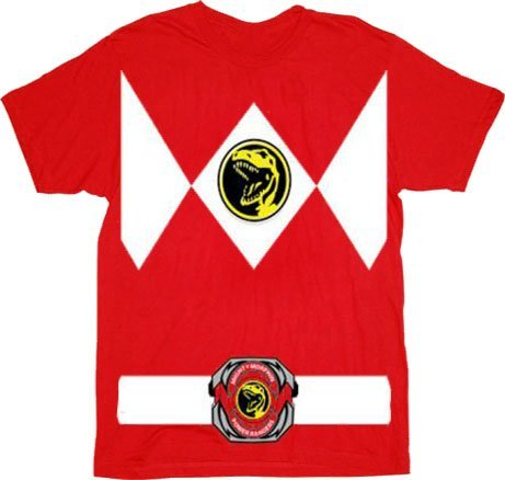 Power Rangers Rot Erwachsene Ranger Kostüm Rot T-Shirt Tee (XX-Large)