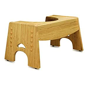Jellyfish Storey Toilet Step Stool and Potty Training Support (Adjustable) Natural Bamboo Wood w/Non-Slip Surface | Foot Rest for Squatting and Proper Alignment | Kids and Adults