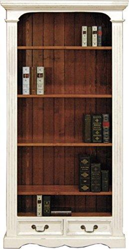 Casa Padrino Vintage Bücherschrank Antik Stil Weiss/Holzfarben 190 x 98 cm - Bücherregal Regal Schrank (Bücherschrank Antik)