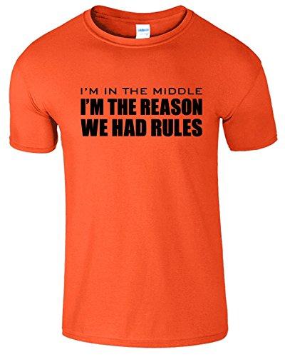 Im The Reason Sibling Rules Herren T-Shirt Im Mittlere Kind Orange / Schwarz Design