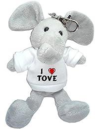 Elefante de peluche (llavero) con Amo Tove en la camiseta (nombre de pila/apellido/apodo)