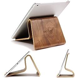 URCOVER Stand Soporte para Tablet | Base Atril PREMIUM Ergonómico en Madera Bambú en Café Oscuro