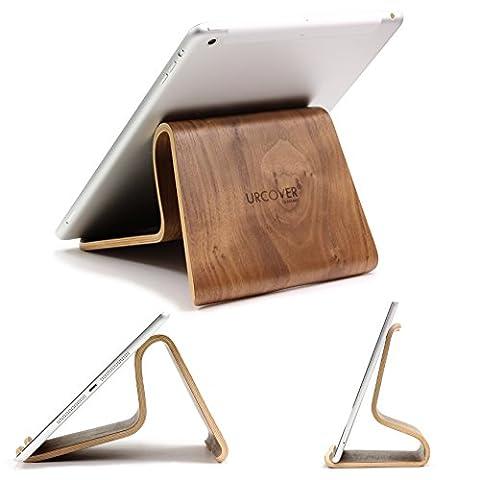[TOP] Designer Tablet Ständer Original Urcover® Echt Holz Ständer [DEUTSCHER FACHHANDEL] Tablet Halterung für iPad Air 1|2, Galaxy Tab 1,2,3, S, 8.5, 10.5, 10.4, 10, iPad 2|3|4 Retina Dunkel Braun