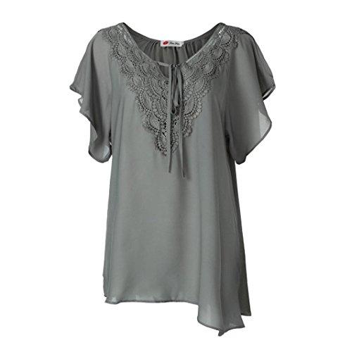 VEMOW Neue Kommende Damen Damen Etwas Fett Typ Mode Kurve Appeal Spitze T-Shirt Bluse Fledermaus Kurzarm Tops für Muttertag Geschenk (EU-50/CN-2XL, Grau) (Hooded Baumwolle Henley)
