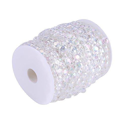 Zerodis 30m / 98ft Acryl Diamant Diamantkristalle Perlenschnur Vorhang Tür Hochzeit Geburtstag Party Dekorationen DIY 10mm Klar/AB Farbe(AB Color)