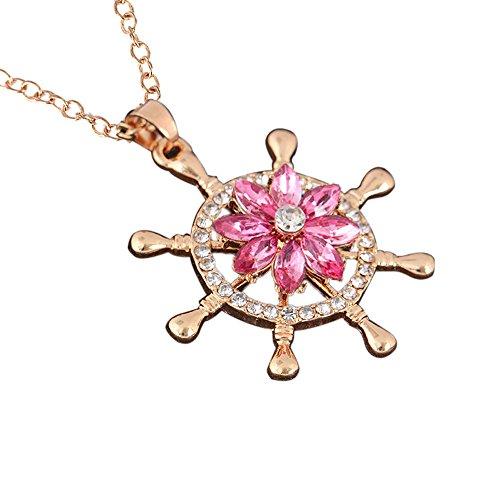 HuaMore Mode kreative Rotation Halskette Stil mit Diamant Blumen drehen Halskette Länge: 60cm