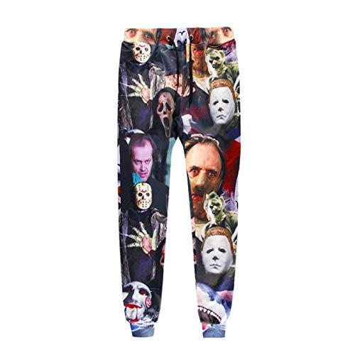 Surenhap Sportbekleidung, Sporthosen Hosen Hip Hop 3D Druck Horror Film Killer/Teufel/Hai/Zombie Fashion Sweathosen Sportbekleidung für Halloween Sport usw. Unisex - S, Hosen