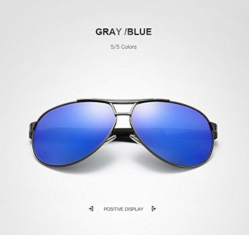 Xiaochou@sl Retro-Sonnenbrille für die Luftfahrt Herren Polarisierte Spiegel/verspiegelte Sonnenbrillen Herren-Sonnenbrillen-Marken-Designerbrillen klar (Color : Gray/Blue)
