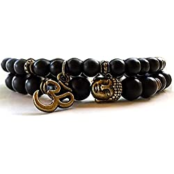 Young & Forever Black D'Vine Set Of 2 Yoga & Meditation Om Charm Buddha Beads Reiki Healing Multi-Strand Bracelet For Women , Men, Girls, & Boys