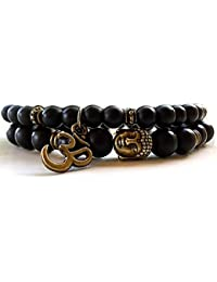 Young & Forever Mothers Day Gifts D'vine Set of 2 Yoga & Meditation Om Charm Buddha Reiki Beads Bracelet