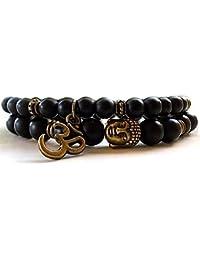 Young & Forever valentine gifts special D'vine Set of 2 Yoga & Meditation Om charm buddha Reiki beads bracelet