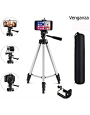 Venganza Adjustable Aluminium Alloy Tripod Stand Holder for Mobile Phones & Camera, 360 mm -1050 mm, 1/4 inch Screw + Mobile Holder Bracket