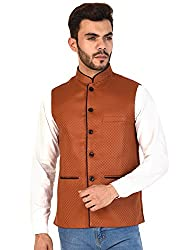 Vastraa Fusion Mens Chequered Blended Festive Brown Nehru Jacket/Waistcoat - 46 Size