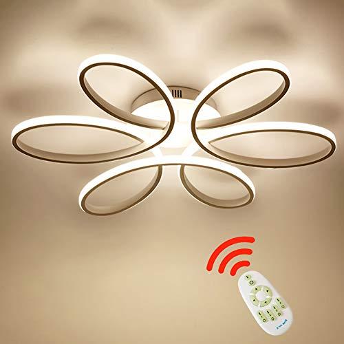 85W LED Plafoniera Creativo Forma di fiore Lampada da soffitto Acrilico Paralume in alluminio Moderno Elegante Bianco opaco Soggiorno camera da letto Lampada a soffitto L59cm*H11cm, Dimmerabile