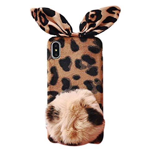 Omio Schutzhülle für iPhone XS, Leopardenmuster, Fell mit Bällen, süße Ohren, Haarball, Plüsch, flauschig, Fell, modisch, für den Winter, warm, luxuriös, für iPhone XS Max