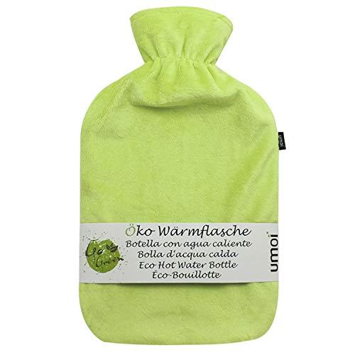 UMOI Öko Wärmflasche 2 Liter mit hochwertigem Supersoft Korean Fleece Bezug BS1970:2012 zertifiziert - Modell 2019 (Grün)