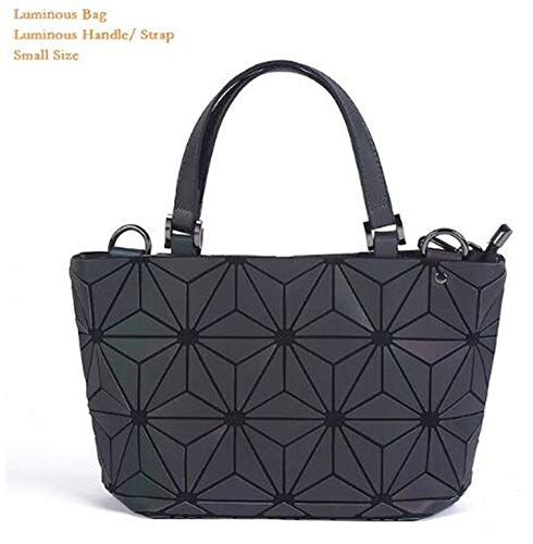 enlOWJ women's geometric lattice tote bag High Quilted Chain Shoulder Bags Laser Plain Folding Handbags,luminous small