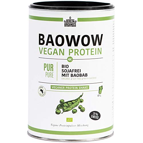 Berlin Organics - Baowow Protein - 100% Bio Protein Shake aus vier veganen Proteinen - Mehrkomponentenprotein - Wasser-pulver Aromatisiertes