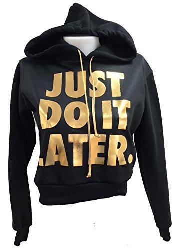 Friend Trendz -Femme Army Camouflage Just Do It Crop plus tard hoodies sweat GOLDEN JUST BLACK