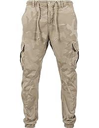 Urban Classics Herren und Jungen Hose Camo Cargo Jogging Pants, Cargohose im Stil einer Jogginghose, Taschen an der Seite, Beinabschlus mit Gummibund