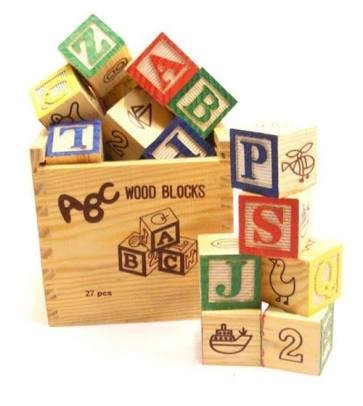 AND-Generic 27 Pcs ABC / 123 Wooden Blocks Letters Numbers with Box Storage Case - Classic Educational Learning Toy Blocks for Babies & Toddlers