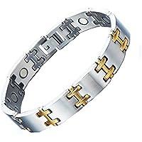 Magnohealth Magnet-Armband aus Edelstahl und Gold, H-Stab Gliederarmband, mit Geschenkbeutel, hohe Stärke Neodym-Magnete preisvergleich bei billige-tabletten.eu