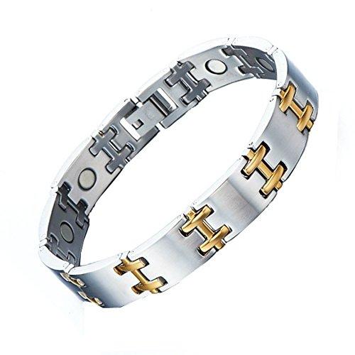 Magnohealth Magnet-Armband aus Edelstahl und Gold, H-Stab Gliederarmband, mit Geschenkbeutel, hohe Stärke Neodym-Magnete