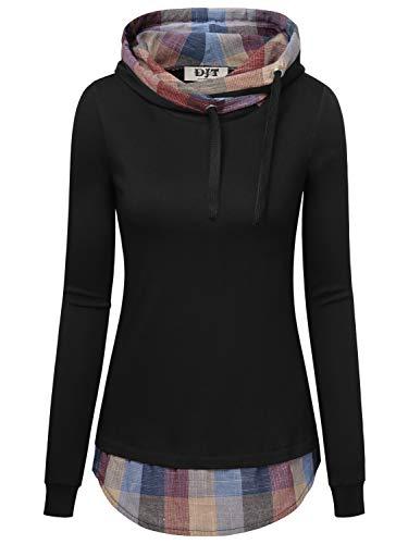 DJT Damen Kapuzenpullover T-Shirt Kurzarm Ladies Kurzarm Jersey Hoody Schwarz-Plaid #2 L