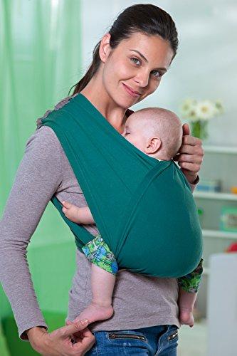 AMAZONAS Babytrage CarryBaby Petrol Bauchtrage 2 Schlaufen stressfrei ohne Knoten 4 Monate - 3 Jahre bis 15 kg - 3