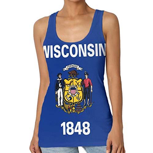 Henrnt Damen Unterwäsche/Weste,Damen Tops Sommer, Flag of Wisconsin Women Tank Top T-Shirt Funny Sleeveless Sport Vest Racerback - Wisconsin Gelben T-shirt