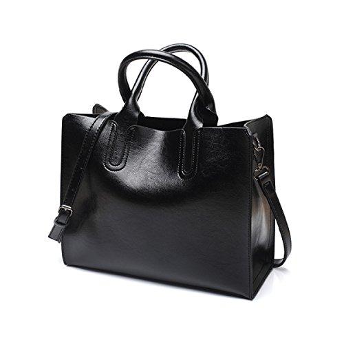 Frauen Mode PU Leder Schultertaschen Top-Griff Handtasche Tote Tasche Geldbörse Umhängetasche Black