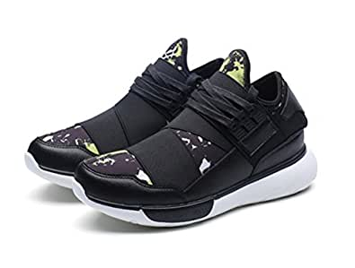 Fashion Men's Casual Korean Sneaker Sports High Hip-hop Boots Shoes (UK6.5, black+green)