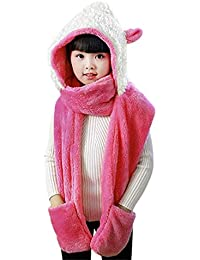 27bef5c16 Kids Hat Gloves Scarf 3 In 1 Set Winter Warm Cartoon Plush Hoodie Gloves  Pocket Earflap