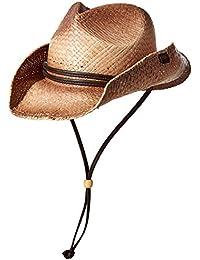 Peter Grimm Paja Redondo hasta Cowboy Hat w Correa de Piel (té teñida) 37f7c204297