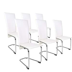 6er set design esszimmerstuhl st hle freischwinger in creme wei k che haushalt. Black Bedroom Furniture Sets. Home Design Ideas