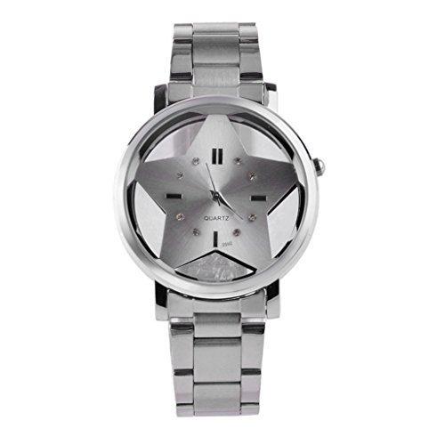 Souarts Damen Edelstahl Armbanduhr Stern Quarzuhr Analog Armbanduhr Silberfarbe