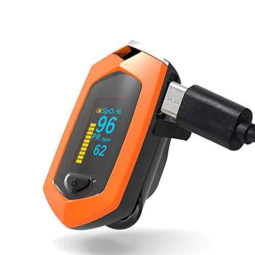 WANGXN Pulsoximeter Finger Blutsauerstoffsättigung Monitor OLED-Display Auto-Off,Orange
