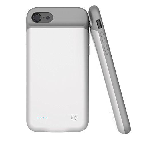 iPhone 7 / iPhone 8 Coque Batterie, Moonmini 2800mAh Ultra-Fin Rechargeable Externe Portable Power Bank Backup Housse Batterie de Secours Étui Chargeur de protection Charging Case Cover with Audio Jac Blanc 1