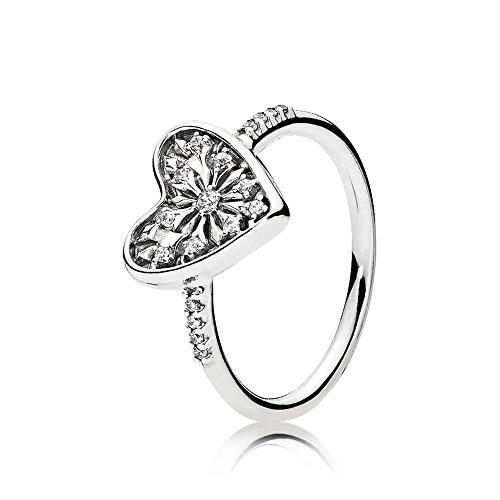 Pandora Damen Ring Winter-Herz in silber mit einem Herz und weißen Zirkonia besetzt
