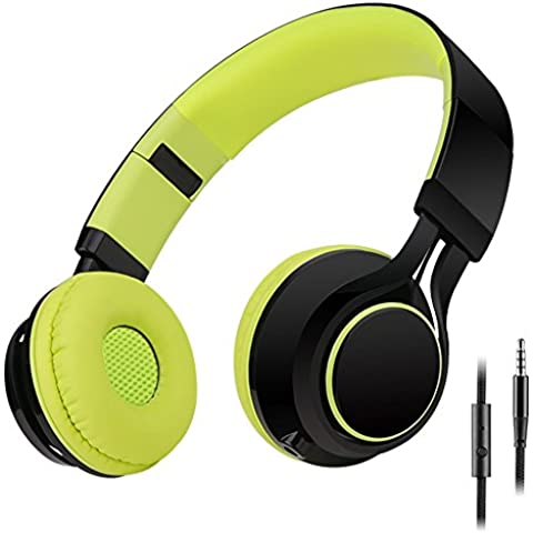 Sound Intone HD30 Niños Auriculares con Micrófono Plegable Portátil Chicos Headsets y Cable de Audio de 3.5mm Desmontable para iPhone Ipad Android Smartphone Laptop Tablet PC Mp3/Mp4(Verde)