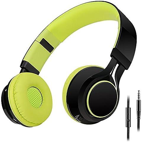 Sound Intone HD30 Niños Auriculares con Micrófono Plegable Portátil Chicos Headsets y Cable de Audio de 3.5mm Desmontable para iPhone Ipad Android Smartphone Laptop Tablet PC