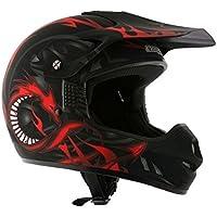 AMX Casco Motocross para Niños, Negro/Rojo Mate, YM