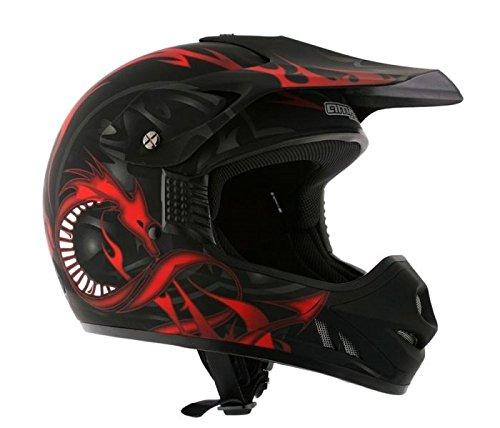 AMX Casco Motocross para Niños, Negro/Rojo Mate, YL