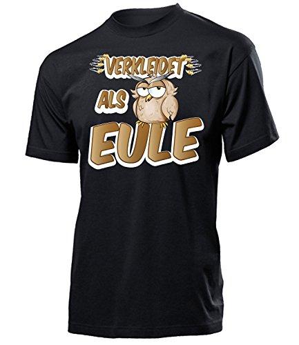 Verkleidet als Eule 5220 Karneval Fasching Tier Kostüm Eulenkostüm Tierkostüm Herren T-Shirt Erwachsene Faschingskostüme Karnevalskostüme Schwarz XL