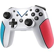 Jamswall Mando para Nintendo Switch, Controlador Inalámbrico Bluetooth Apoya Vibración, Turbo y Giroscopio, Gamepad para Nintendo Switch/Lite/Android/PS3/PC (Blanco)