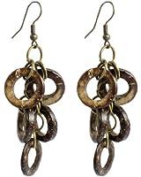 Pair Woman Wood Round Ring Pendant Fish Hook Earrings Light Brown