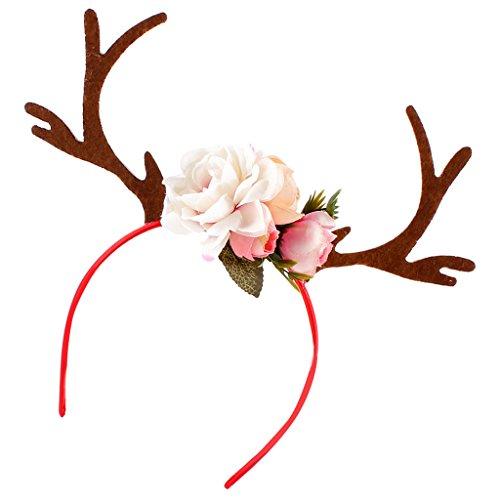 Haarreif Rentier Geweih Blumen Haarband Stirnbänder Haarschmuck für Erwachsene Kinder - Weiß (Rote Weiße Und Blaue-blumen-stirnband)