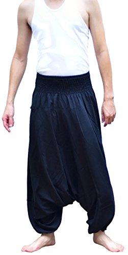 da-uomo-baggy-yoga-boho-hippie-aladdin-alibaba-harem-pantaloni-neri-black