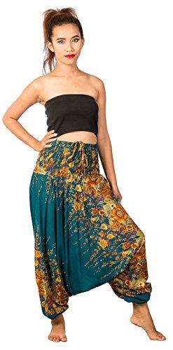 Lofbaz Jumpsuit Pantalones Harem de cintura estampado de flores Smocked Mujeres Turquesa Una Talla