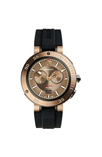 Versace Herren Chronograph Quarz Uhr mit Gummi Armband VCN030017